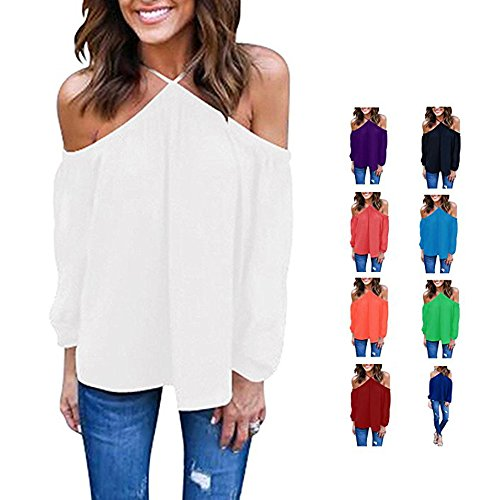 YunJey Women's Spaghetti Halter Off The Shoulder Blouse Long Sleeve Shirt Tops