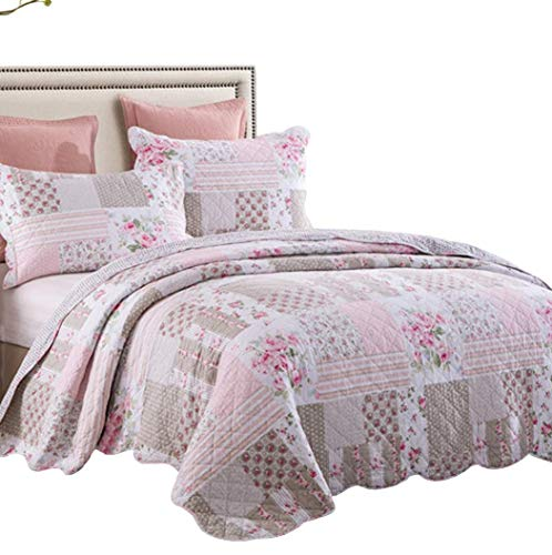 Brandream Girls Rose Comforter Set Full Size Lightweight Shabby Cottage Chic Bedding Quilt Coverlet Set Cotton Queen Size