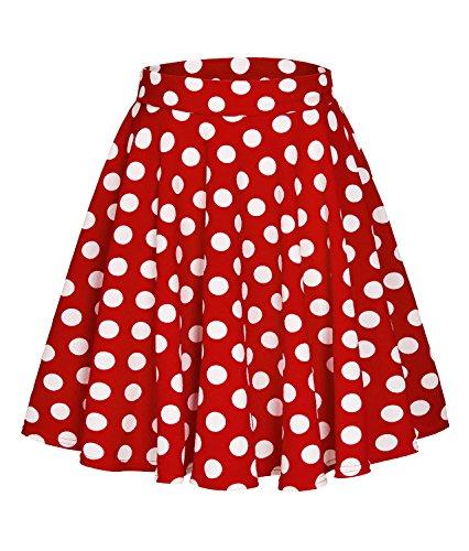 Urban CoCo Women's Basic Versatile Stretchy Flared Casual Mini Skater Skirt (M, Long-3)