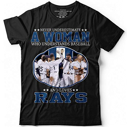 (Never Underestimate A Woman Understands Baseball Loves Rays Customized Handmade T-Shirt Hoodie/Long Sleeve/Tank Top/Sweatshirt)