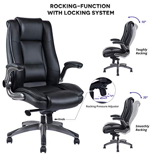 VANBOW High Back Leather Office Chair - Adjustable Tilt Angle and Flip-up Arms Executive Computer Desk Chair, Thick Padding for Comfort and Ergonomic Design for Lumbar Support, Black by VANBOW (Image #2)