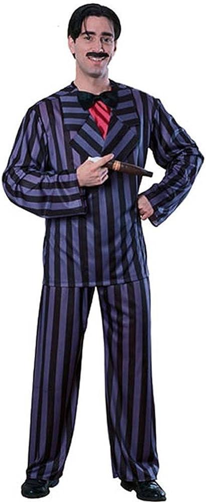 Halloween Costume Mens Gomez Adams Fancy Dress Pinstripe Suit Cigar Moustache