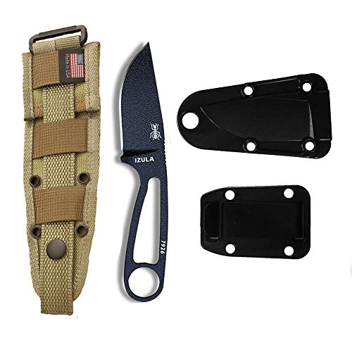 - ESEE Knives Izula-B Fixed Blade Knife w/Molded Polymer Sheath, Clip Plate & Molle Back (Khaki)
