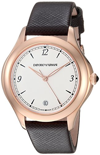 Emporio Armani Swiss Made Women's 'Esedra' Quartz Stainless Steel and Leather Casual Watch, Color: Brown (Model: ARS8505)
