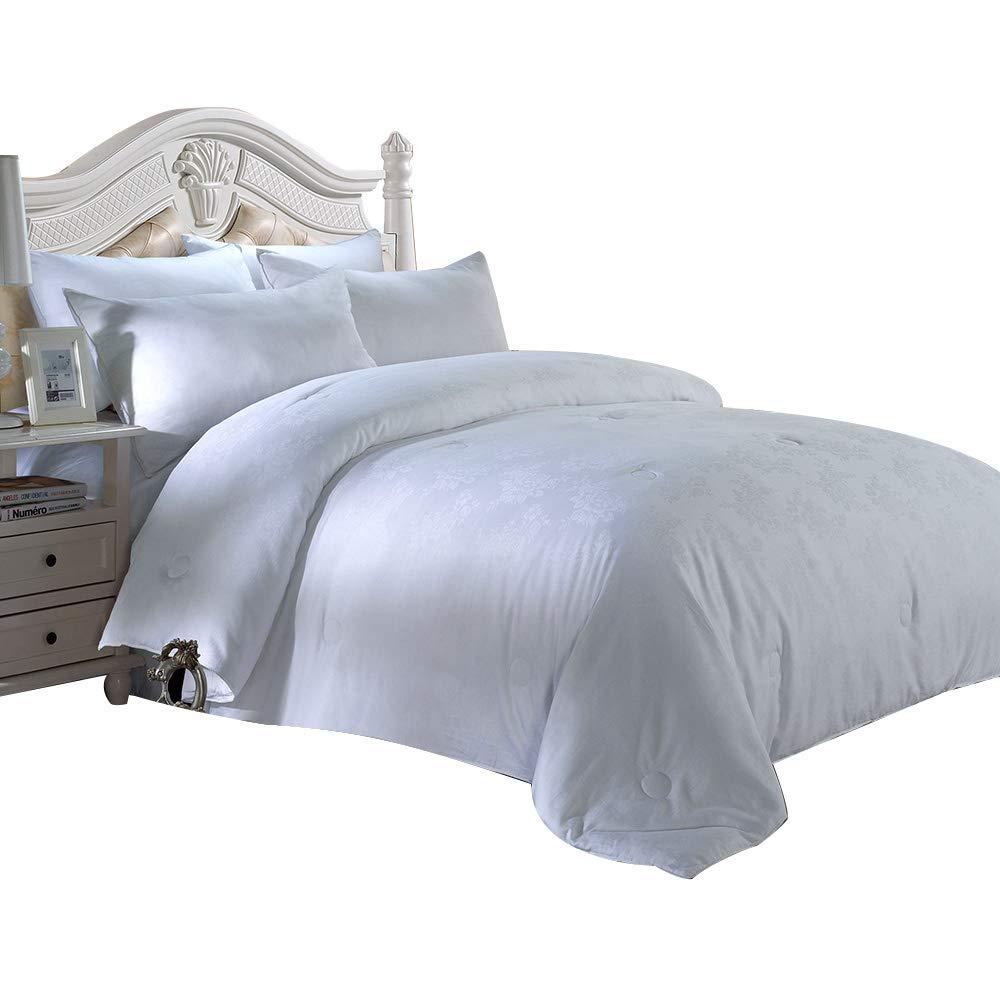 Alicemall 4 Jahreszeiten Bettdecke Baumwolle Steppdecke atmungsaktiv, Tagesdecke Decke Füllung 100% Federn (220 x 240 cm, weiß 2)