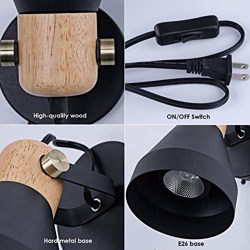 Minimalist Plug-in Wall Sconce Modern Black Wall Lamp with Cord Contemporary Rotatable Wall Light Fixture for Bedroom Living Room Bedside Lamp by BSM (Image #2)