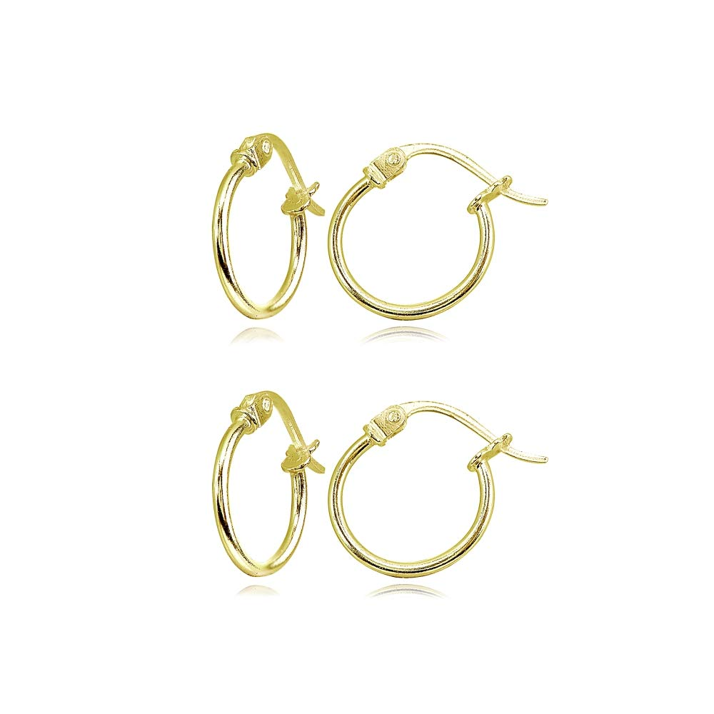 e60a84703 Galleon - 2 Pair Set Gold Flash Sterling Silver Tiny Small 12mm High  Polished Round Thin Lightweight Unisex Click-Top Hoop Earrings