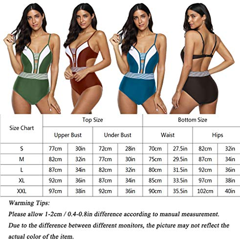 Anguang Womens Plunge V-Neck Halter One Piece Swimsuit Swimwear Cutout Monokini Bathing Bikini Suit Army Green S