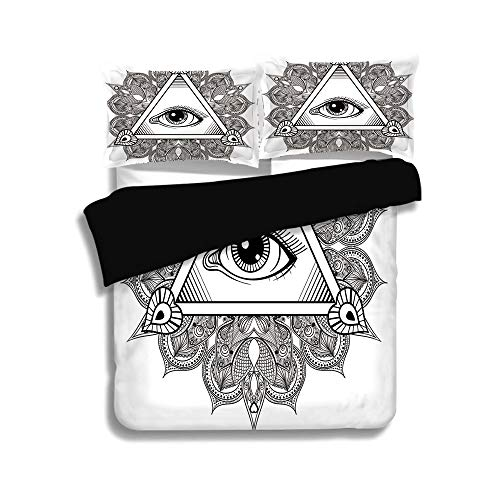 iPrint Black Duvet Cover Set Queen Size,Eye,Vintage All Seeing Eye Tattoo Symbol with Boho Mandala Providence Spirit Occultism,Black White,Decorative 3 Pcs Bedding Set by 2 Pillow Shams