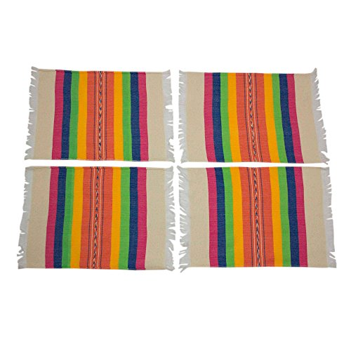 NOVICA Hand Woven Multicolor Cotton Placements 'Fiesta Hues' (Set of 4)