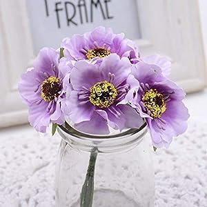 GSD2FF 6pcs 3.5cm Mini Silk Cherry Artificial Bouquet DIY Handmade Tattoo Wreath Scrapbook Wedding Decoration Craft,Light Purple 70