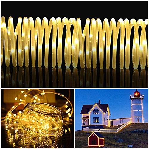 LED Lichtschlauch 200Leds Warmweißes Wasserdicht Deko für Innen Außen Garten Party Hochzeit Weihnachts (LED Lichtschlauch)