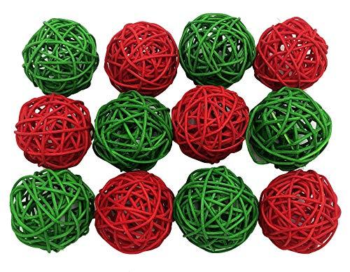 Fascola 12PCS Mixed Red Green Wicker Rattan Ball Wedding Christening Baby Shower Nursery Mobiles Decoration ()