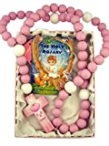 Pink Wooden Prayer Bead My First Rosary with Baptism Cross, 18 Inch