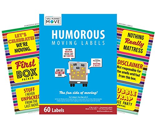 Moving Humor - Humorous Moving Labels - 60 Count - By Well Planned - Labels Well