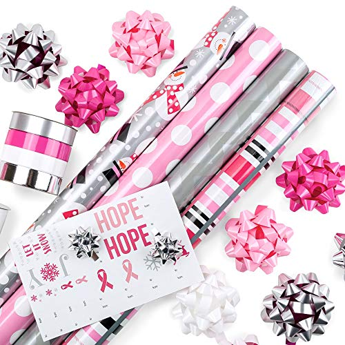 Pink Wrapping Paper Set with Matching Bows, Ribbon, and Gift Tags for Holidays, Birthdays, Weddings, Awareness: 4 Rolls of 24″ x 8ft. Premium Gift Wrap with 3 Reversible Designs