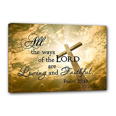 "FRAMED CANVAS PRINT All the ways of the Lord are loving and faithful Psalm 25:10 religious (22""x12"") printed wall art plaque home decor sayings quotes"