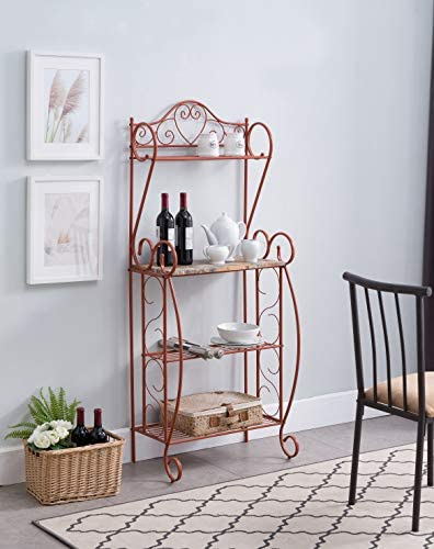 Kings Brand Furniture Sparta Metal Kitchen Storage Bakers Rack, Orange