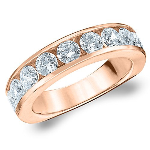 18K Rose Gold Diamond Channel Set Wedding Band (2.0 cttw, G-H Color, SI1-SI2 Clarity) Size 7 (Eternity Ring Gold 18k Diamond)