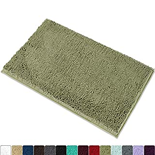 """MAYSHINE Chenille Bath Mat for Bathroom Rugs 32"""" x20"""", Extra Soft and Absorbent Microfiber Shag Rug, Machine Wash Dry- Perfect Plush Carpet Mats for Tub, Shower, and Room- Sage Green"""