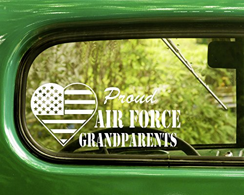 - 2 PROUD US AIR FORCE GRANDPARENTS Decal Military Stickers White Die Cut For Window Car Jeep 4x4 Truck Laptop Bumper Rv