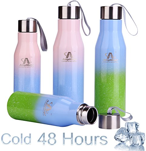 Amplim Triple Wall Vacuum Insulated Stainless Steel Sports Water Bottle/Travel Flask. Ice Cold 48 Hours! FDA Approved Food Grade Materials, BPA Free, Eco Friendly (Pink/Blue/Green 17/25oz New 09/2017)