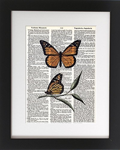 Monarch Butterflies - Upcycled Dictionary Art Print 8x10. - UNFRAMED - Frame and matting are for presentation purposes only to show you how they can look.