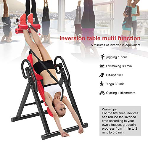 Yoleo Gravity Heavy Duty Inversion Table with Adjustable Headrest & Protective Belt (Red) by Yoleo (Image #2)