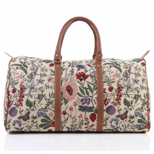 - Ladies Garden Flower Carry-on Overnight Weekender Duffel Travel Bag by Signare with Sunflower Poppy Butterfly Dragonfly (BHOLD-MGD)