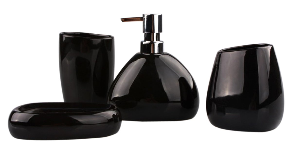 amazoncom 4 piece elegant ceramic bathroom accessory set smooth black home kitchen