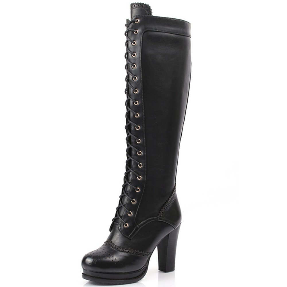 Women's Handmade Knee-High Lace-Up Round Toe Black Genuine Leather Boots - DeluxeAdultCostumes.com