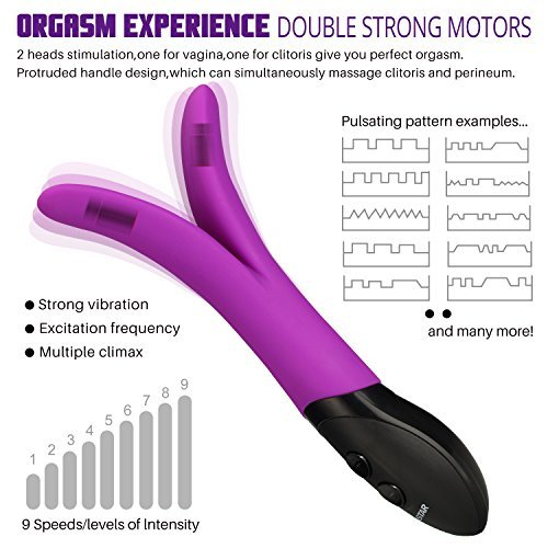 TENGQI Double Bifurcation Multi-Speed Massager, Wireless Waterproof, Power Vibrator Wand Massager (Purple)