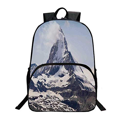 (Farmhouse Decor Fashionable Backpack,Matterhorn Summit with Cloud Mountain Scenery Glacier Natural Beauty for Boys,11.8