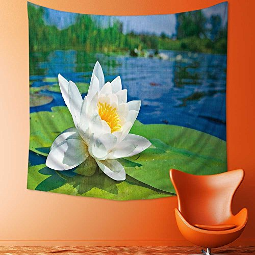AmaPark Art Decorative Water Lily Floating on a Lake Wall Hanging Bedspread Multi Purpose Tapestries 32W x 32L - Hanging Tiffany Lily Water