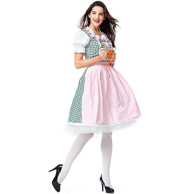 QQWE Vestido de Dirndl alemán para Mujer, Traje Tradicional ...