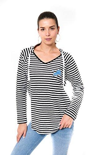 - Ultra Game Adult Women V-Neck Hoodie Pullover Stripe Sweatshirt, Team Color, Black, Large