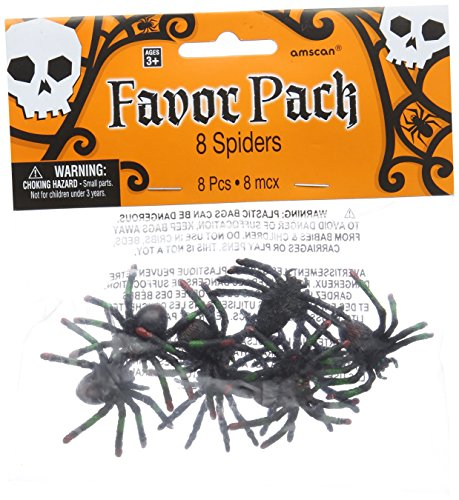 - Creepy Halloween Assorted Spider Party Favour, Plastic, 1
