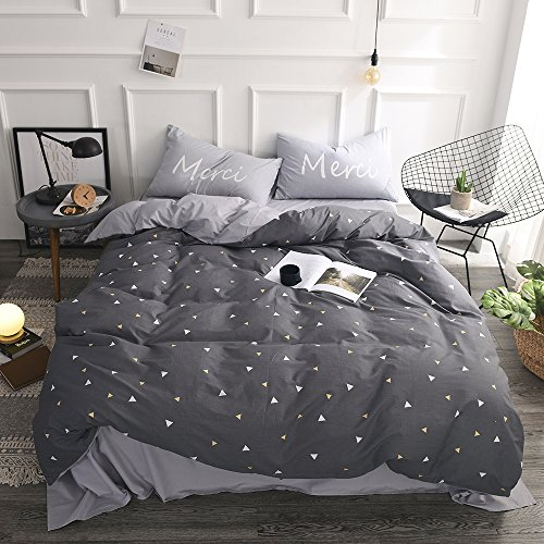 FenDie Lightweight Gray Duvet Cover Set with Little White and Yellow Triangle Printed Bedroom Collections - 100% Cotton, Full/Queen