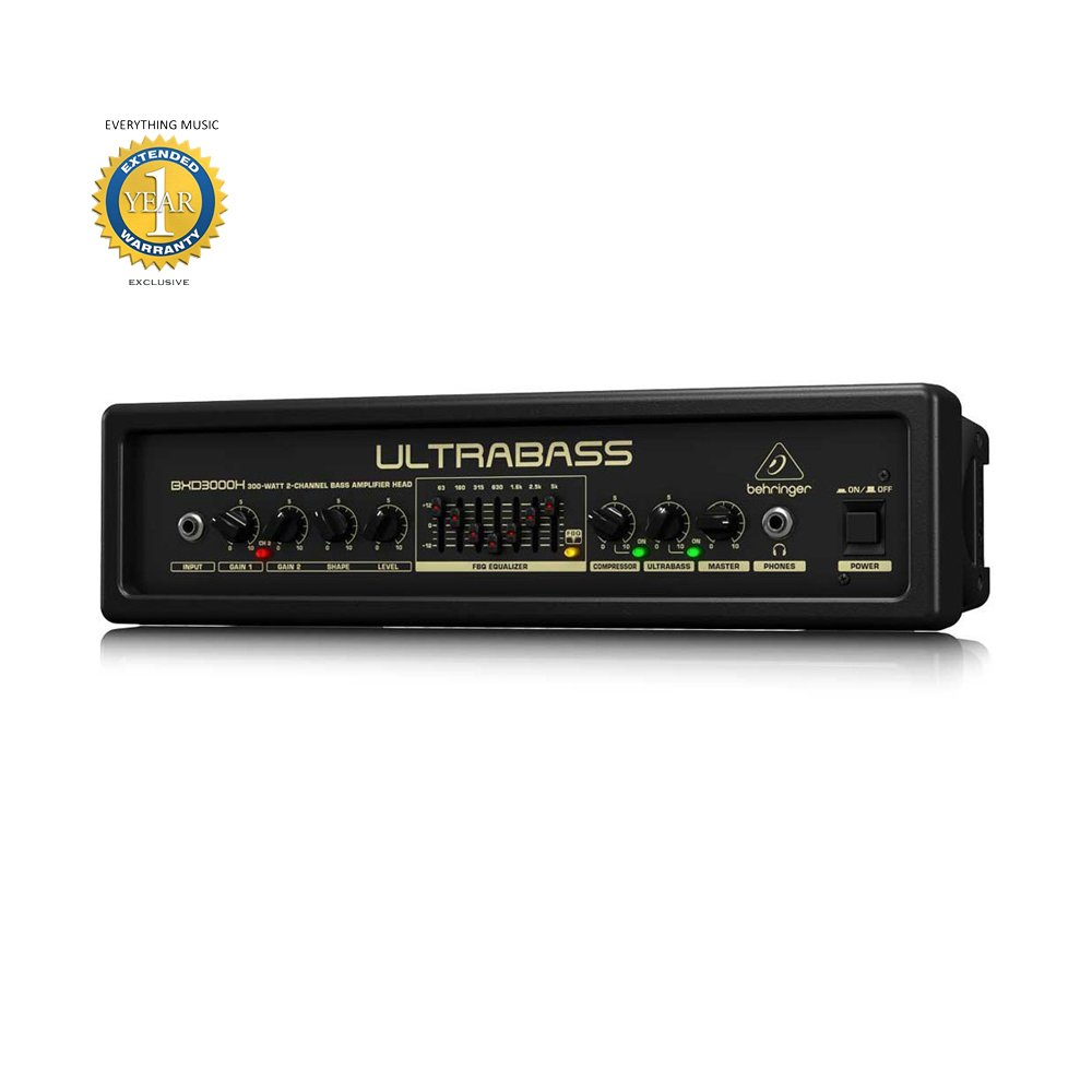 Behringer UltraBass BXD3000H 300-watt 2-channel Bass Amp Head with 1 Year EverythingMusic Extended Warranty Free