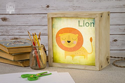 Edison Lightbox | Children | Light Box | Table Lamp | Desk Lamp | LED | Lamp | Nursery | Zoo | Lion ()