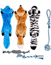 Toozey Squeaky Dog Toys No Stuffing, 6 Pack Dog Toys Small Dogs, Durable Plush Puppy Toys, 100% Natural Cotton Ropes Puppy Teething Chew Toys, Non-Toxic and Safe, Suit for Small and Medium Dogs
