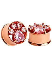 KUBOOZ(1 Pair) 2018 Summer New Arrival Pink Cute Cat's Claw Stainless Steel Ear Plugs Tunnels Gauges Stretcher Piercings