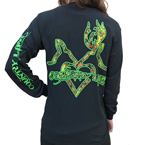 Country Life Camo Kissing Deer Black and Green Long Sleeve Shirt ()