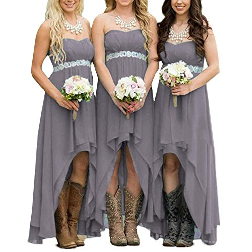 EUMI Chiffon Bridesmaid Dresses High Low Strapless Country Bridal Wedding Party Gowns, Grey 20