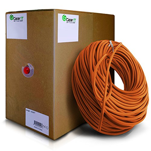 GearIT 1000 Feet Bulk Cat6 Ethernet Cable - Cat 6e 550Mhz 24AWG Full Copper Wire UTP Pull Box - In-Wall Rated (CM) Stranded Cat6, Orange by GearIT