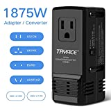 voltage converter for hair dryer - TryAce 1875W Universal Travel Adapter and Converter Combo 240V to 110V international Voltage Converter for Hair Dryer, All in One Plug 8A Max Adapter Wall Charger for UK/AU/US/EU 150+ Countries