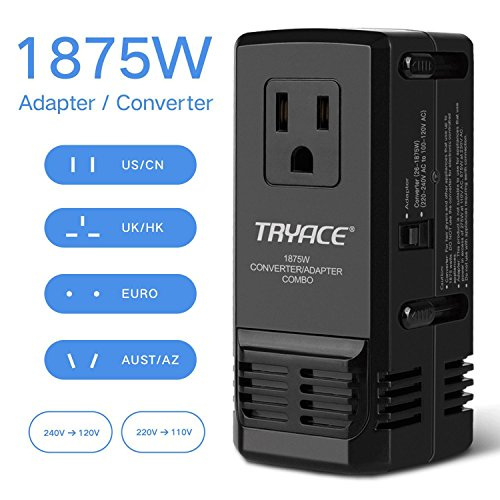Price comparison product image TryAce 1875W Universal Travel Adapter and Converter Combo 240V to 110V international Voltage Converter for Hair Dryer, All in One Plug 8A Max Adapter Wall Charger for UK/AU/US/EU 150+ Countries