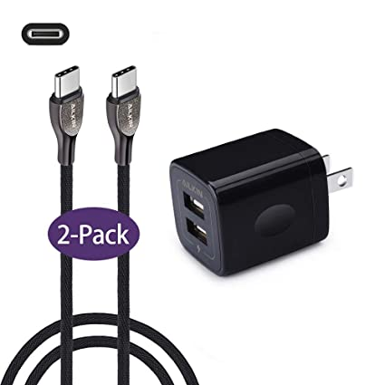 AILKIN Type C Charger Plug, 2Pcs S9 Cords, 2.1A Dual Port USB Wall Charger with USB C Fast Charge Nylon Braided Cable, Compact with Pixel, LG V30 G6 ...