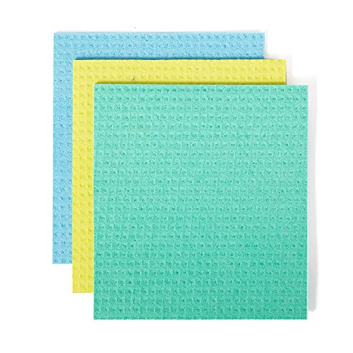 Full Circle Reusable Cellulose Sponge Clothes, 3 Pack (Cellulose Scrub Sponge)