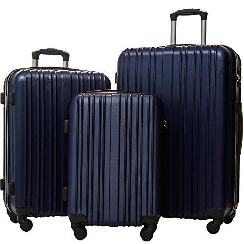 Merax Hylas 3 Piece Luggage Set Lightweight Spinner Suitcase(Dark Blue) by Merax